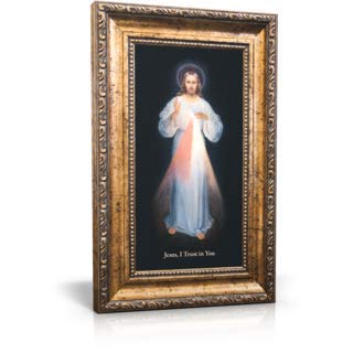 Jesus Mercy Divine - St Joseph Communications Divine Mercy (Vilnius) - Framed Canvas 6 x 11 (Including frame: 9.5 x 14.5)