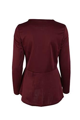 Manica Cappotto Le Lunga Autunno Giacche Solido Donne Moda Outwear Vino Elegante pzIgqz
