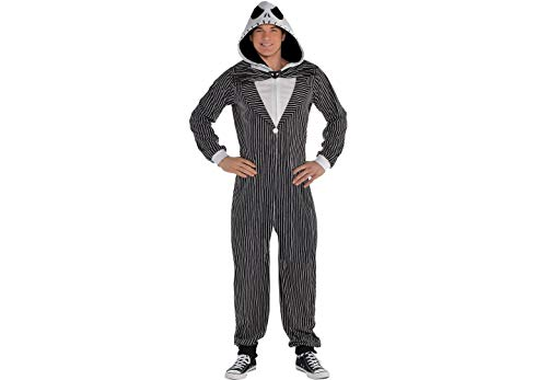 Zipster Jack Skellington The Nightmare Before Christmas One Piece Halloween Costume for Adults, Small/Med, by Party City