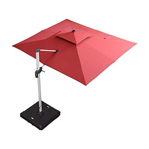 PURPLE LEAF 9′ X 12′ Double Top Deluxe Rectangle Patio Umbrella Offset Hanging Umbrella Outdoor Market Umbrella Garden Umbrella, Terra