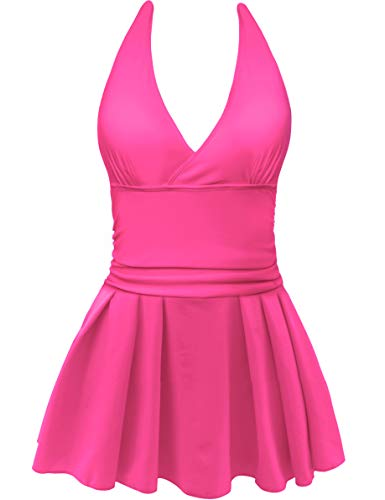 AONTUS Women's Plus Size Swimsuits Tummy Control One Piece Swim Dresses Bathing Suit (Large(US Size:12-14), Z-Backless-Pink)