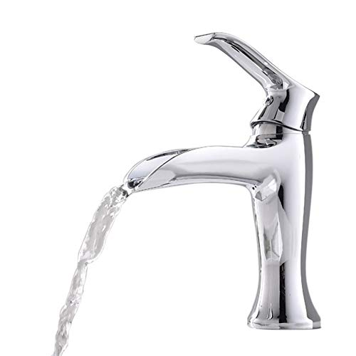 Commercial Modern Stainless Steel Single Handle Chrome Finished Bathroom Faucet, Lavatory Vanity Sink Faucet Without Pop Up Drain