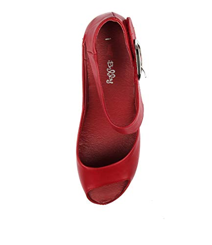 Wedges I SMOOTH LOVE Summer RED Medium TINDOL Shoes OIL Heels BILLY Womens 6axrn68