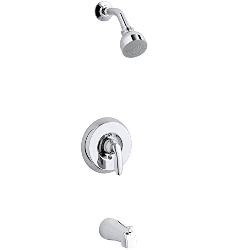 4 Coralais Shower - KOHLER TS15601-4-CP Coralais(R) Rite-Temp(R) bath and shower valve trim with lever handle, NPT spout and 2.5 gpm showerhead
