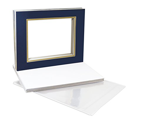 4 Ply Gold Paper (Golden State Art, Pack of 10 11x14 Double Picture Mats with White Core Bevel Cut for 8x10 Pictures + Backing + Bags, Dark Blue Over Gold)