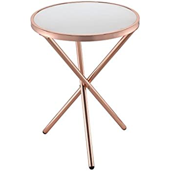Nice ACME Furniture 81816 Lajita Side Table, One Size, Frosted Glass And Copper