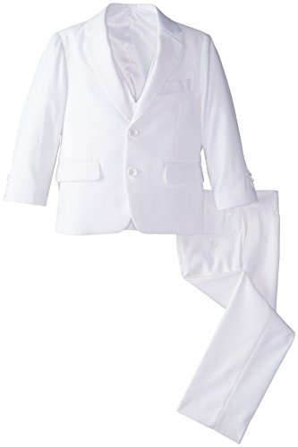 American Exchange Little Boys' Solid Vested Suit, White, 5
