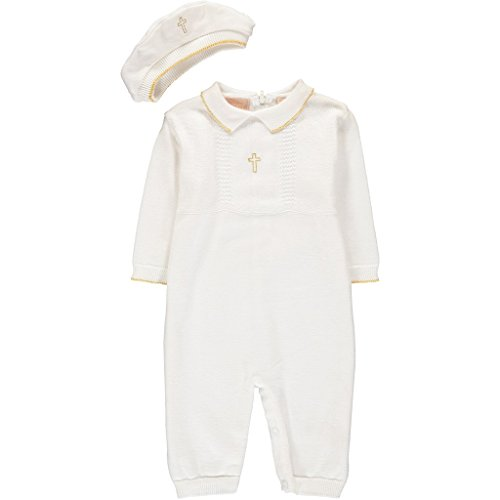 Infant Toddler Boys Knit Christening Baptism Outfit and Hat (Newborn)