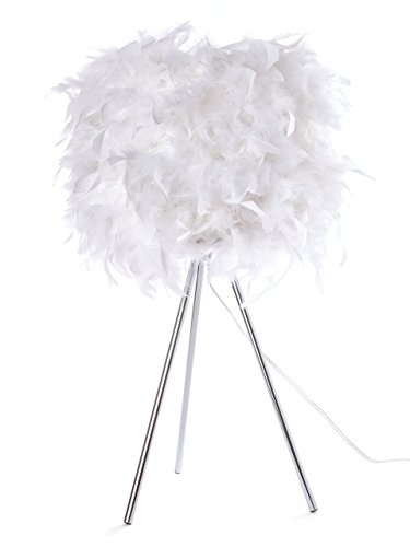 Euro Style Collection ESCTL-VERONA-WHT Verona Feathered Table Lamp (Table Metal Verona)