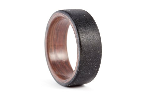Men's black concrete and wenge wood ring. Industrial wooden wedding band. Water resistant, very durable and hypoallergenic (00902_8N) by Rosler