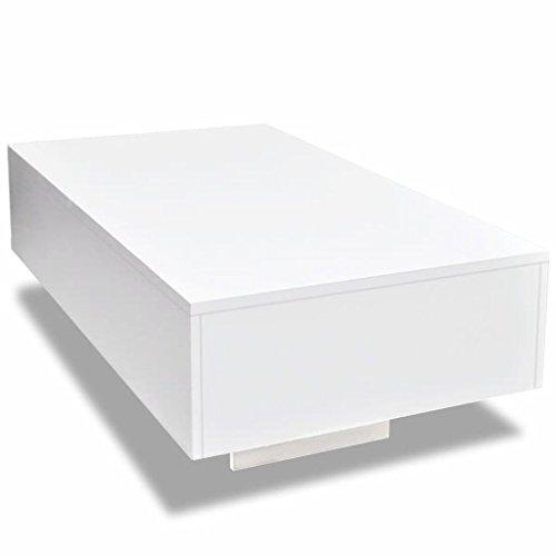 Nishore Mesa de Centro Rectangular Moderno Mesa Auxiliar de Salon Blanca con Brillo 85 x 55 x 31 cm