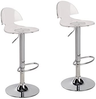 jersey seating 2 x Acrylic Hydraulic Lift Adjustable Counter Bar Stool Dining Chair Clear -Pack of 2 2003