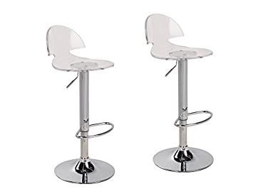 2 x Acrylic Hydraulic Lift Adjustable Counter Bar Stool Dining Chair Clear -Pack of 2 2003