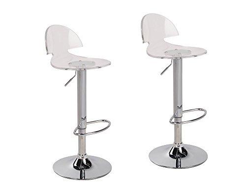 2 x Acrylic Hydraulic Lift Adjustable Counter Bar Stool Dining Chair Clear -Pack of 2 (2003) (Bar Acrylic Modern Stool)