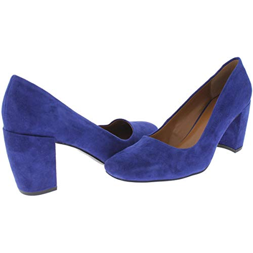 Medium Womens B H Suede M Pumps 10 Blue Square Halston Whitney Toe Dress C55qPxvOwT