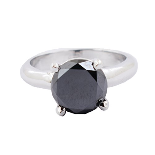 Certified 3.50 Cts Black Diamond Solitaire Ring in 925 Sterling Silver by skyjewels