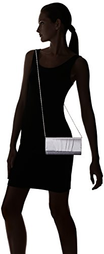 Silver Bridal Handbag Pleated Clutch Wedding Bag Satin Womens Evening Damara Prom HvZwqYBZx
