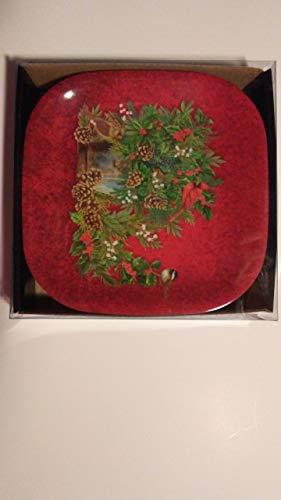 Christmas Holiday Foliage Melamine Plastic Snack Plates Set of Six