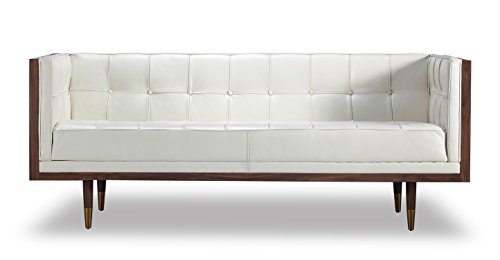 Kardiel Woodrow Midcentury Modern Box Loveseat, White Aniline Leather/Walnut Review