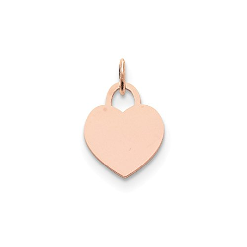 ICE CARATS 14kt Rose Gold Medium Engraveable Heart Pendant Charm Necklace Love Engravable Disc Designer Shaped Fine Jewelry Ideal Gifts For Women Gift Set From (Love Disc Pendant)