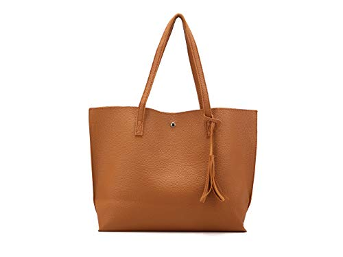 Nodykka Women Tote Bags Top Handle Satchel Handbags PU Pebbled Leather Tassel Shoulder Purse (Orange )