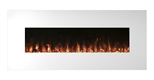 Electric Fireplace Wall Mounted, Color Changing LED Flame and Remote, 50 Inch By Northwest White