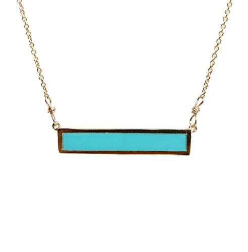 Turquoise Gemstone Bar Necklace Gold 17 Inch Length December Birthstone ()
