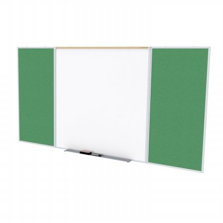 Ghent SPC416D-V-197 4 ft. x 16 ft. Style D Combination Unit - Porcelain Magnetic Whiteboard and Vinyl Fabric Tackboard - Spruce