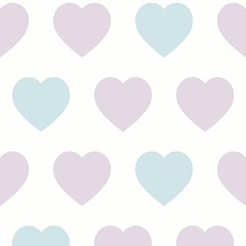 (Arthouse, Sweetheart Lilac Teal Heart Wallpaper, Modern Home Décor)