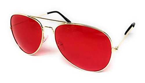 WebDeals - Aviator Silver Mirror or Color Mirror Metal Frame Sunglasses ... (Gold Frame, Red)