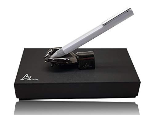 ACELY Innovative Barrel Extrusion Ball Point Pen with Hand Shaped Pen Holder - Pen & Holder Set (White & Black Chrome)