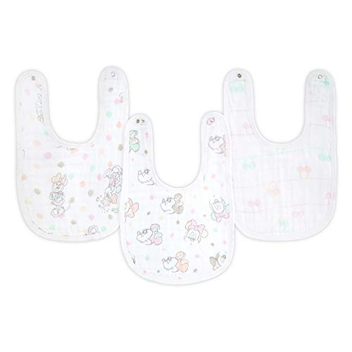 """aden by aden + Anais Disney Snap Bib, 100% Cotton Muslin, Soft Absorbent 3 Layers, Adjustable, 9"""" X 13"""", 3 Pack, Minnie Bubble"""