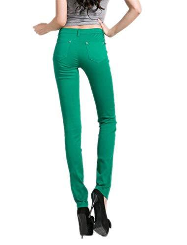 Pantalones Color Mezclilla Casual Pitillo De Leggings Pantalón Botones Juniors Las Sólido Pierna Grün Elástica Treggings Mujeres Jeans Modernas qq1nrZ86x