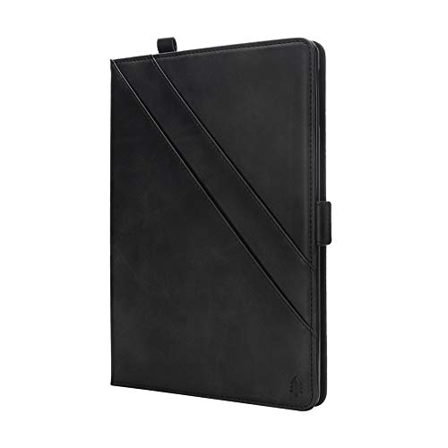 Price comparison product image MoreChioce Compatible with Huawei MediaPad M5 8.4 Leather Case,  Premium Leather Business Folio Cover Full Body Protection Case with Shock-Absorption Kickstand Function Case - Black
