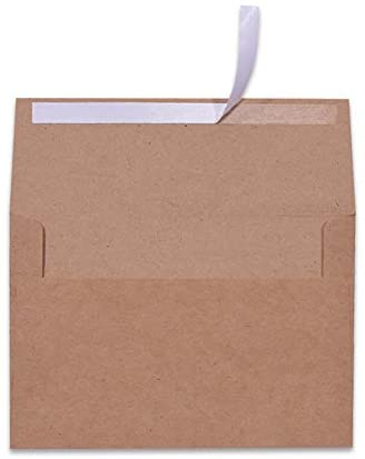100 Pack A7 Brown Kraft Paper Invitation 5 x 7 Envelopes – Quick Self Seal for 5×7 Cards| Perfect for Weddings, Invitations, Baby Shower| Stationery for General, Office | 5.25 x 7.25 Inches