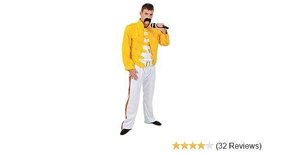 Mens Freddie Mercury 80s Rock Queen Fancy Dress Costume