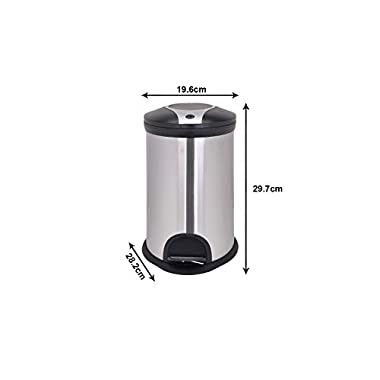 Bathla Contempo Stainless Steel Pedal Step Dustbin - Small (5 L) 10