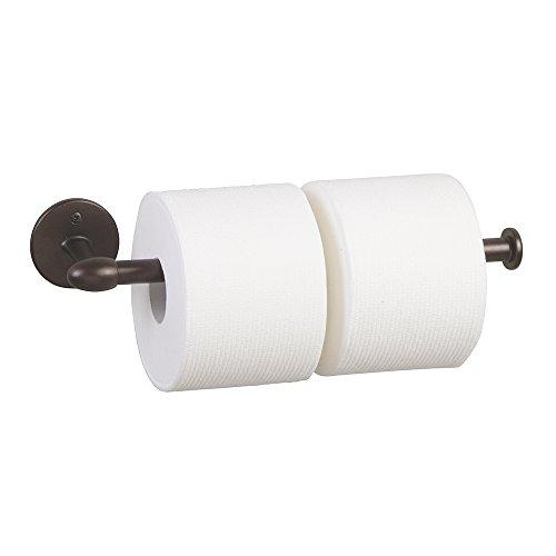 mdesign toilet paper holder for bathroom storage wall mount bronze