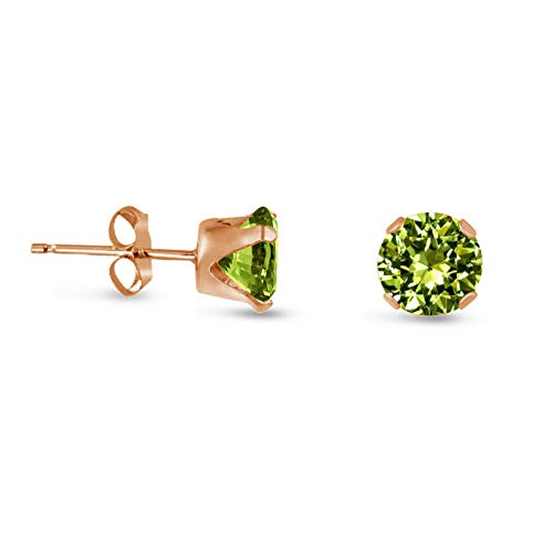 Campton Lime Green CZ Rose Gold Plated Silver Stud Earrings Round - Choose a Size   Model ERRNGS - 14132   6mm - -