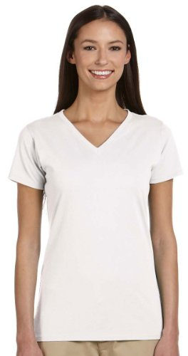 (Econscious Ladies Organic Cotton Side Seam V-Neck T-Shirt, WHITE, Medium)