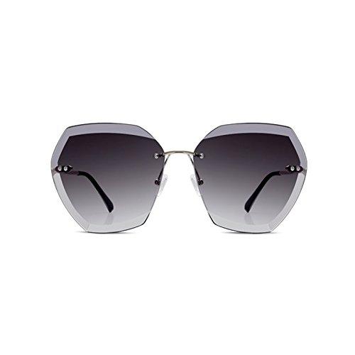 Poligonales Color Gafas Para Sin LIZHIQIANG Sol Gris Mujer Gafas Marrón Gafas De Edge Marco De Sol Polarizer Cut vdqnpqZ7