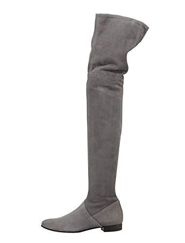 Plat Chaussures À Fête Femmes Travail Hiver Bottes éclair Cuissardes Haute Bottes L'automne Grise Basse Talon Velours Gray Fermeture qfwBgXw