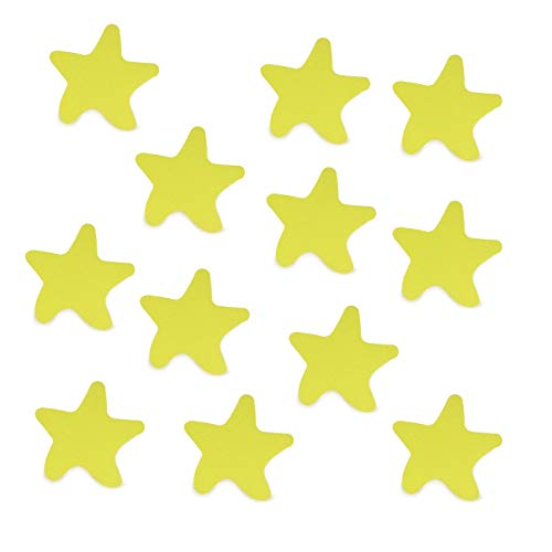 S&X Starfish Shape Non-Slip Bathtub Stickers,Gritty Surface Anti-Slip Treads for Tubs,Showers,Pools,Stairs,12PCS (Yellow) (Shape Decal Polyester)