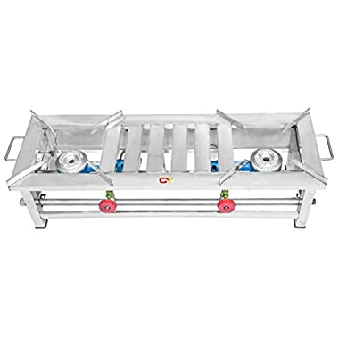CAY Stainless Steel 2 Burner Gas Stove 6