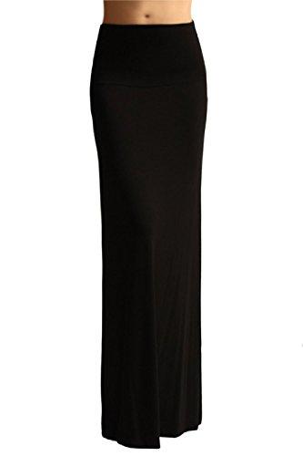 Long Black Straight Skirt - Azules Women's Rayon Span Maxi Skirt - Black 1X