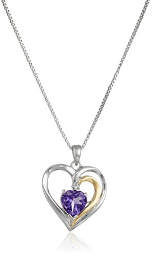 Sterling Silver and 14k Yellow Gold Amethyst and Diamond-Accent Heart Framed Pendant Necklace (.007 cttw, I-J Color, I2-I3 Clarity), ()