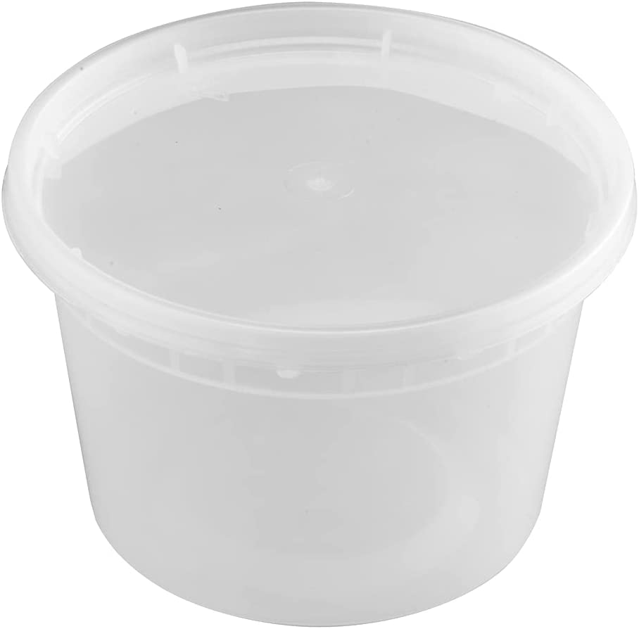 T TIYA Deli Containers Plastic Food Storage To-Go Containers - Reusable Microwavable Dishwasher Safe Restaurant Takeout Cups - Airtight Leak Proof for Soups & Meal Prep - 16oz Bulk 240 Pack with Lids