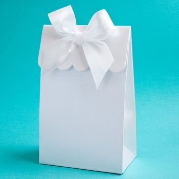 Elegant White Gift Box or Bag Favors with Bow for Do It Yourself Filling (192 (Bows And Bags)