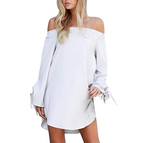 Collo Estate Manica Lunghe lunga Elegante Maniche Spiaggia donna CLOOM Donne abito Mini Vestito Felpa Slash vestito sciolto spalla Fuori White Sexy Casuale T da Shirt xqHUOIHw