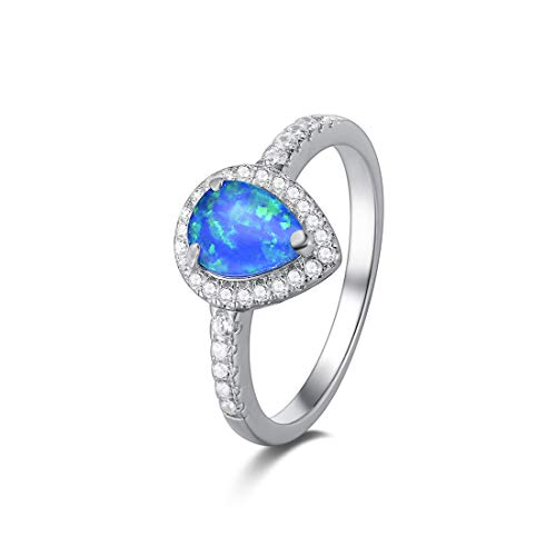 Opalmaster 925 Sterling Silver Blue Created Opal Teardrop Halo Rings Gold Plated Dainty Engagement Water Drop Rings for Women Size - Cz Halo Gold Ring Rose